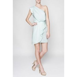 NWT BCBG 4 one shoulder mint ruffle Vanessa dress